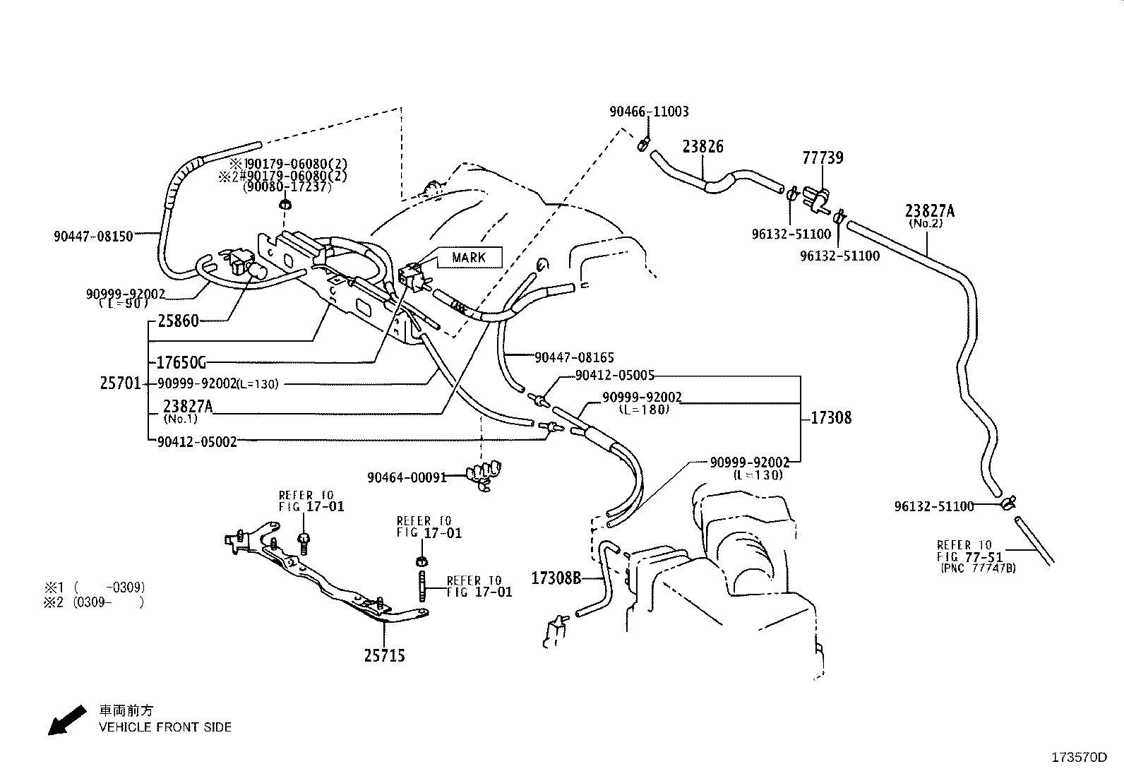 Toyota Sienna Evaporative Emissions System Lines. Hose