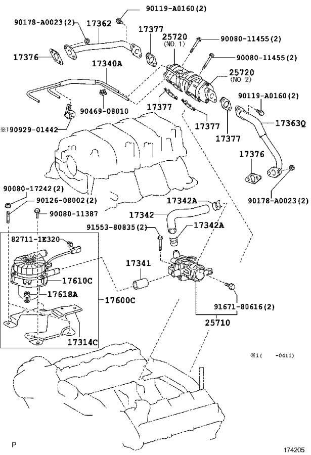 Toyota Tundra Hose assembly, vacuum switching valve