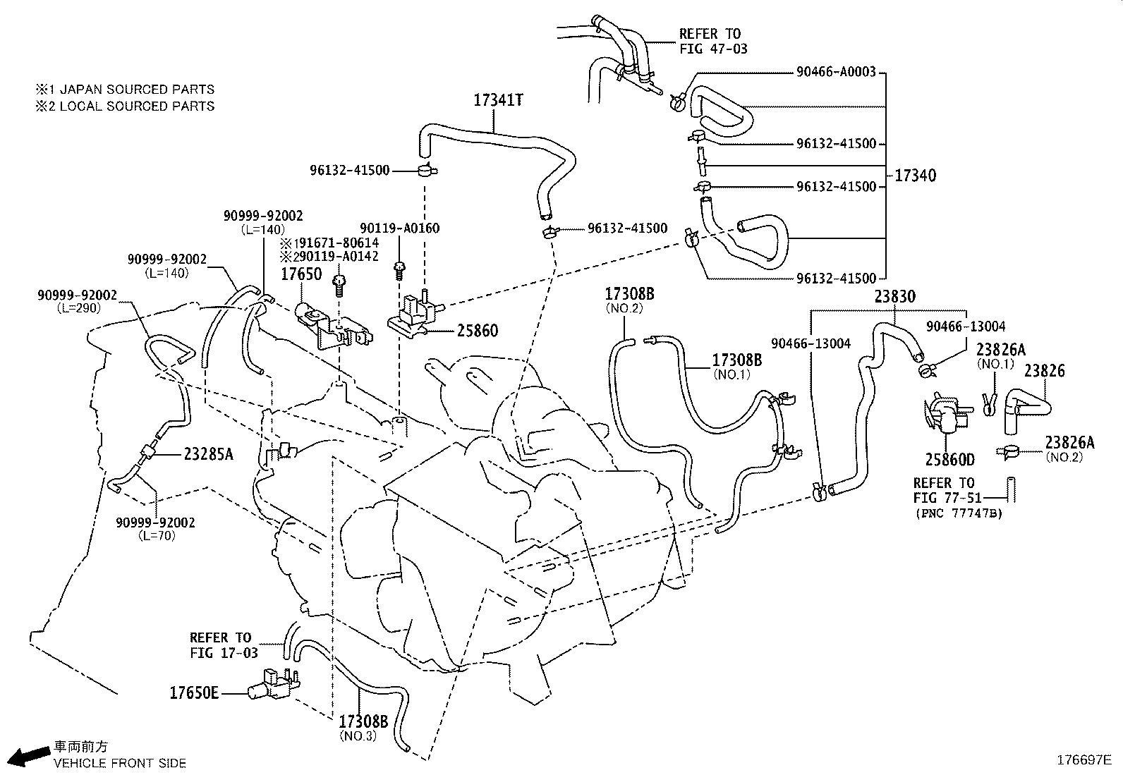 Toyota Sienna Vacuum Hose Hose Fuel Vapor Feed No 2