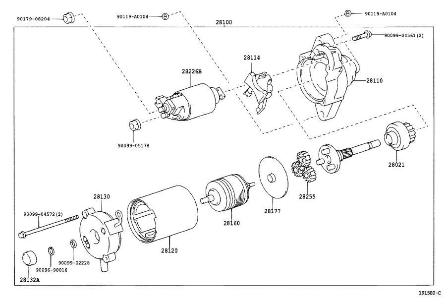 Toyota Corolla Frame assembly, starter commutator end