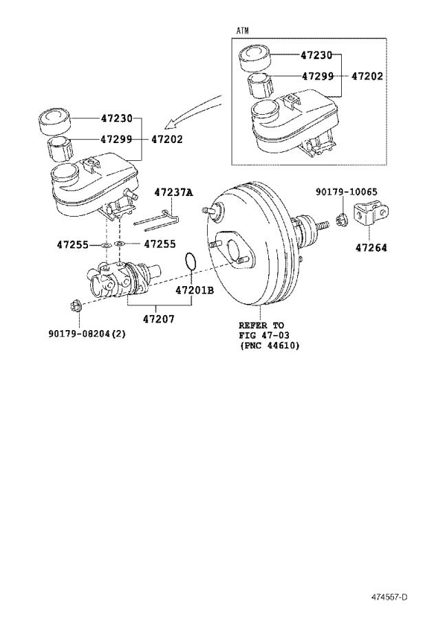 2006 Scion XA Brake Master Cylinder. Cylinder, Brake