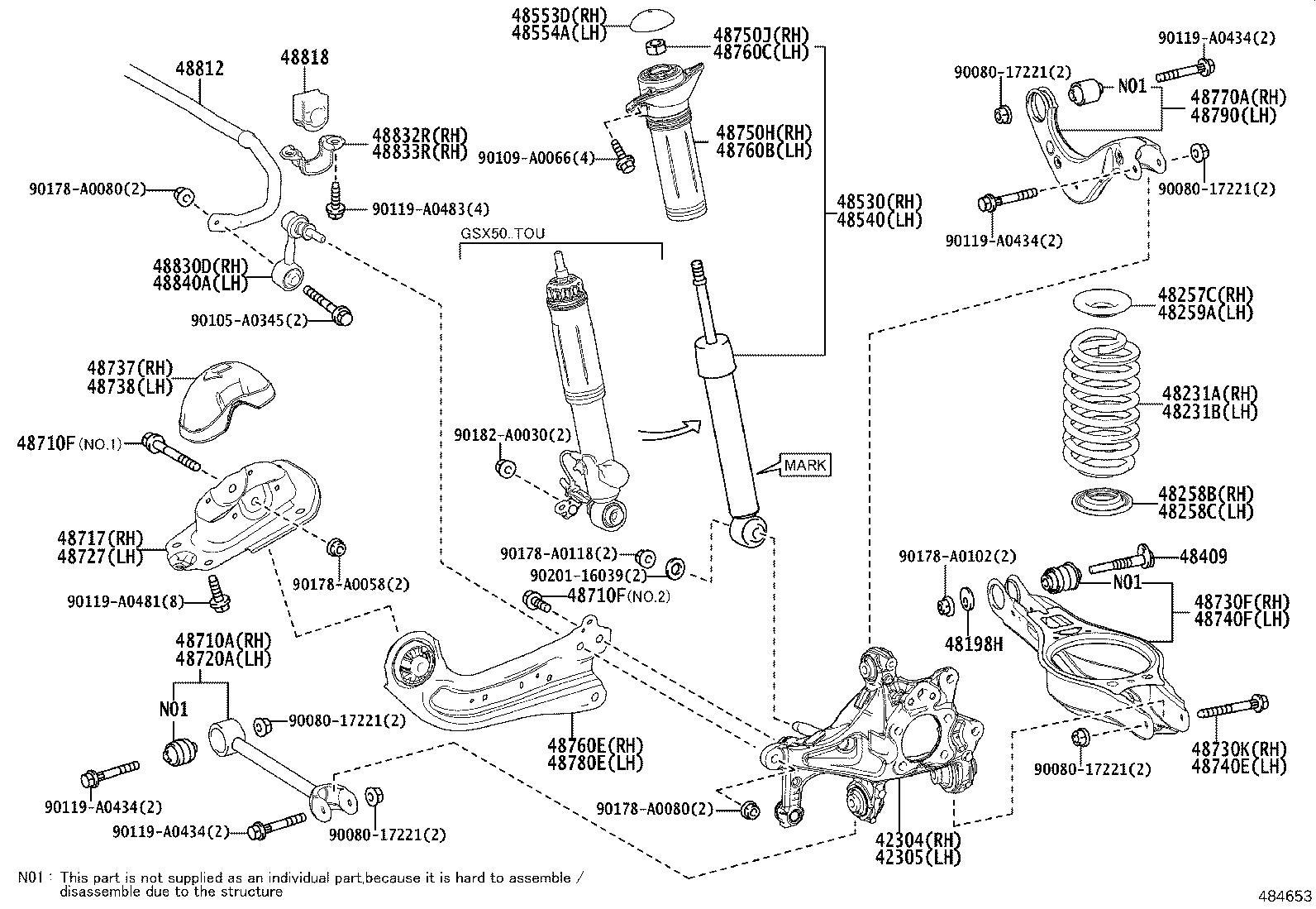 Toyota Avalon Suspension Stabilizer Bar Rear Suspension