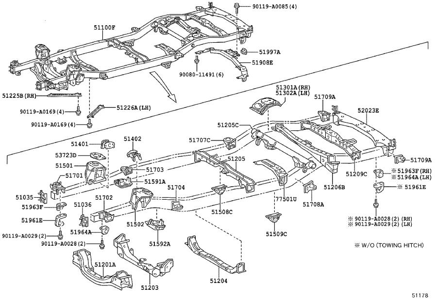 Toyota Sequoia Chassis Frame Reinforcement (Left, Rear