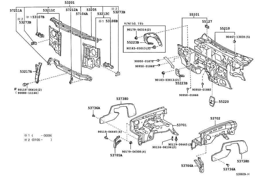 Toyota Tacoma Panel sub-assembly, dash. Body, interior