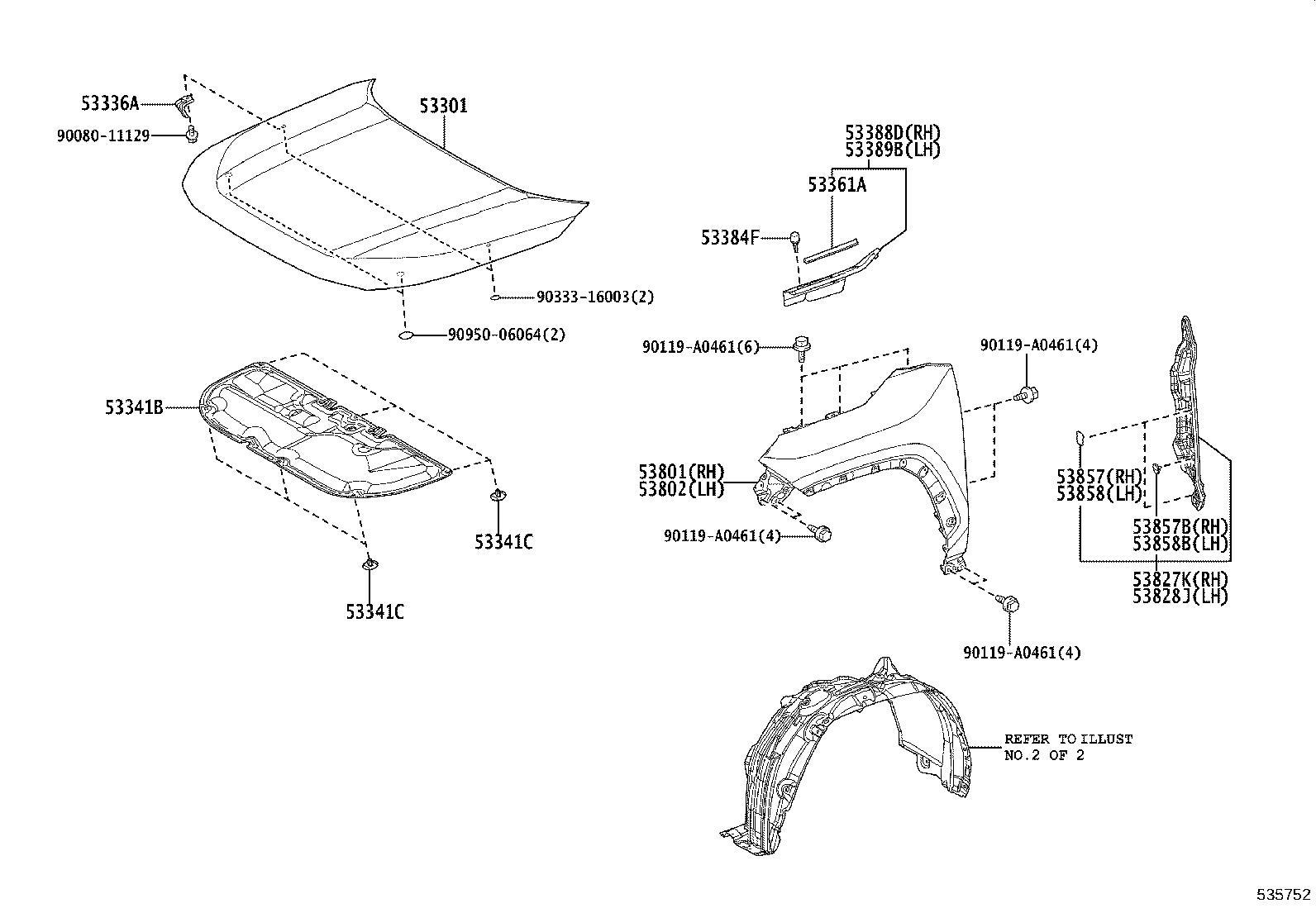 Toyota RAV4 Hood Insulation Pad. Insulator, Hood. GEN, EUR