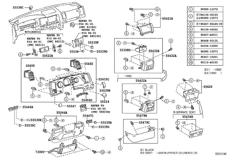 Toyota Tundra Panel sub-assembly, instrument. Black