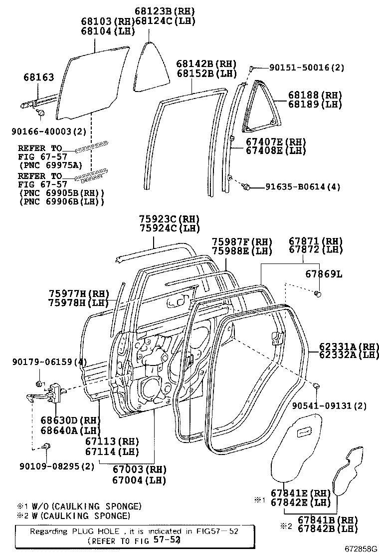 2006 Toyota 4Runner Side Panel Glass (Right, Rear). Glass