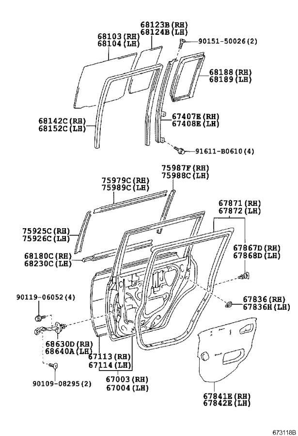 Scion XB Trim Stripe Tape (Left, Rear). Stripe, (RR) Door