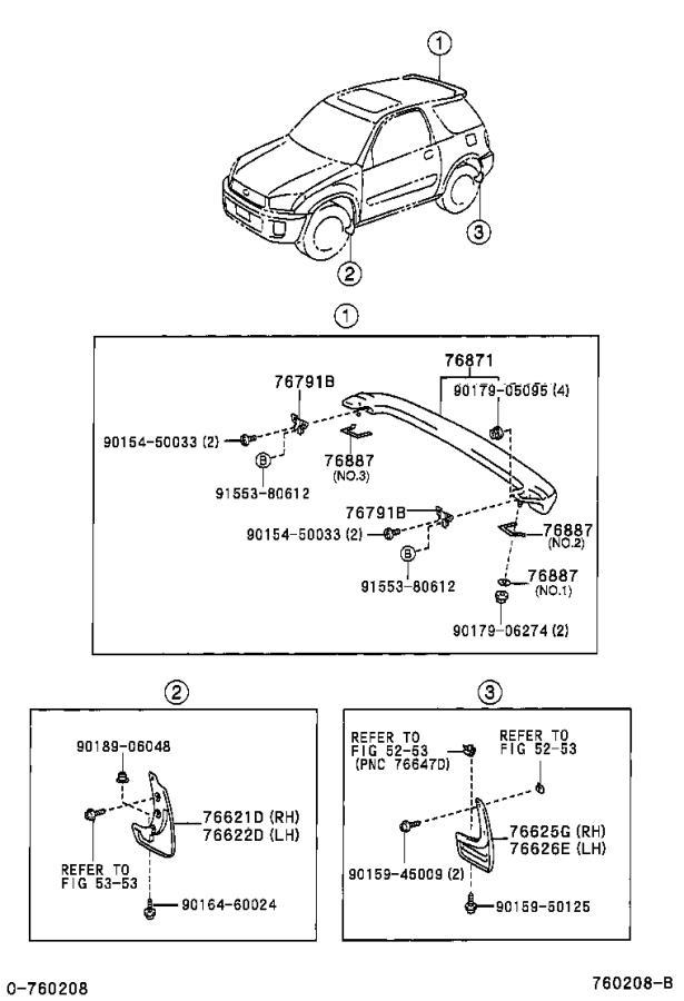 Toyota RAV4 Clip, outside moulding, no. 3. Body, interior