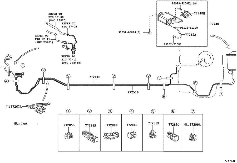 Toyota Yaris Tube, fuel main. Tank, interior, body