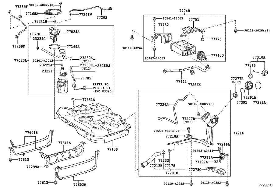 Toyota Camry Evaporative Emissions System Lines. Hose