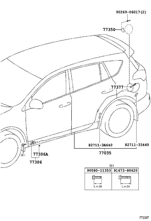 Toyota RAV4 Fuel Tank Strap (Left). Attaches, That