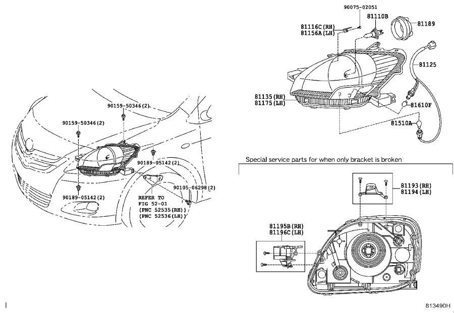 Toyota Yaris Headlight Wiring Harness. Electrical, Lamps
