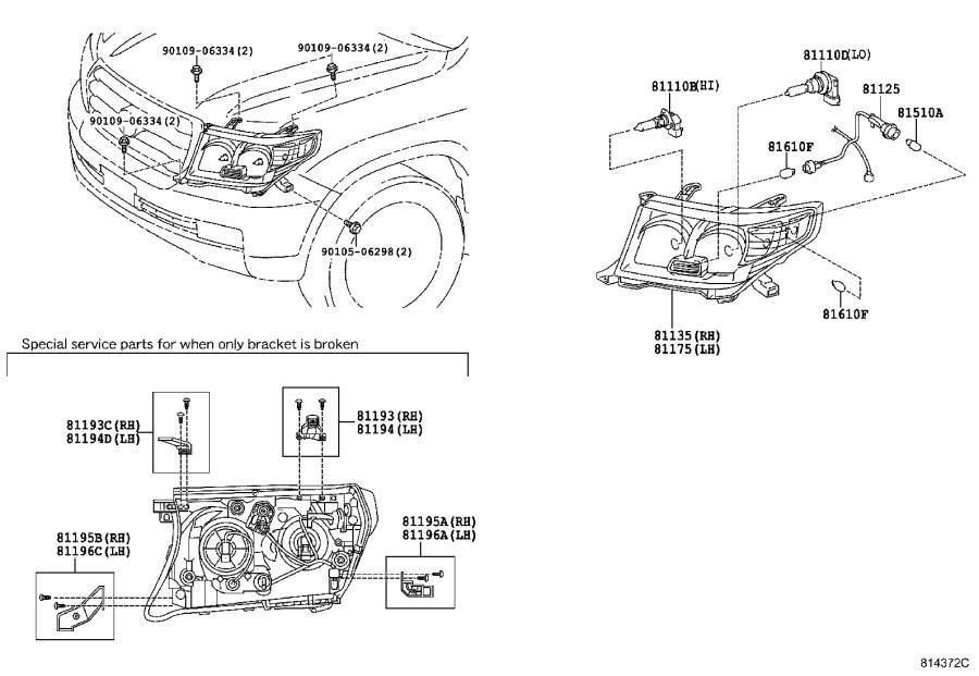 Toyota Land Cruiser Headlight Bracket (Right, Lower