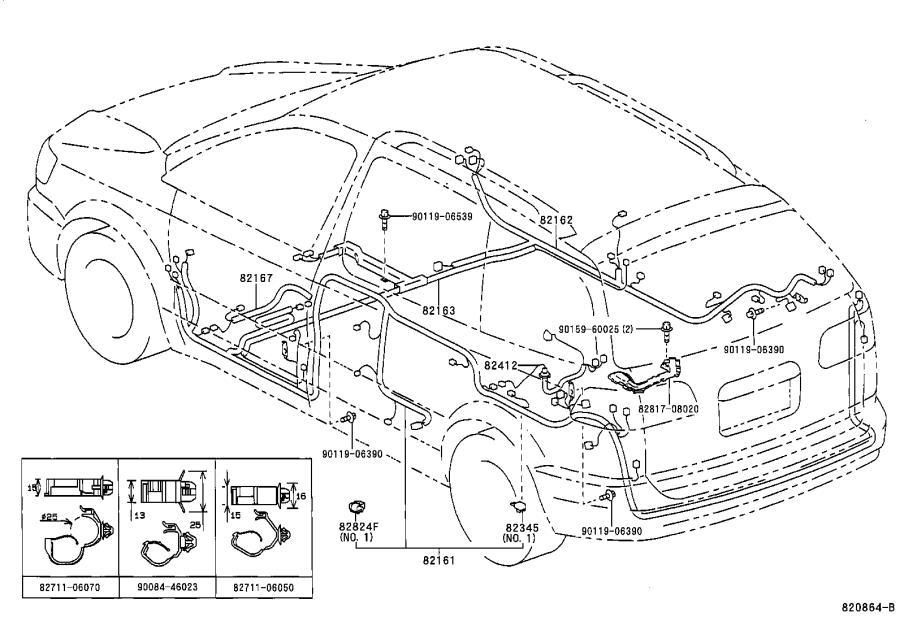 Toyota Sienna Wire, cowl. Engine, electrical, door