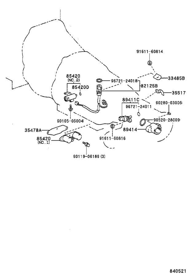 Toyota Previa Wire, transmission. Atm, electrical, efi