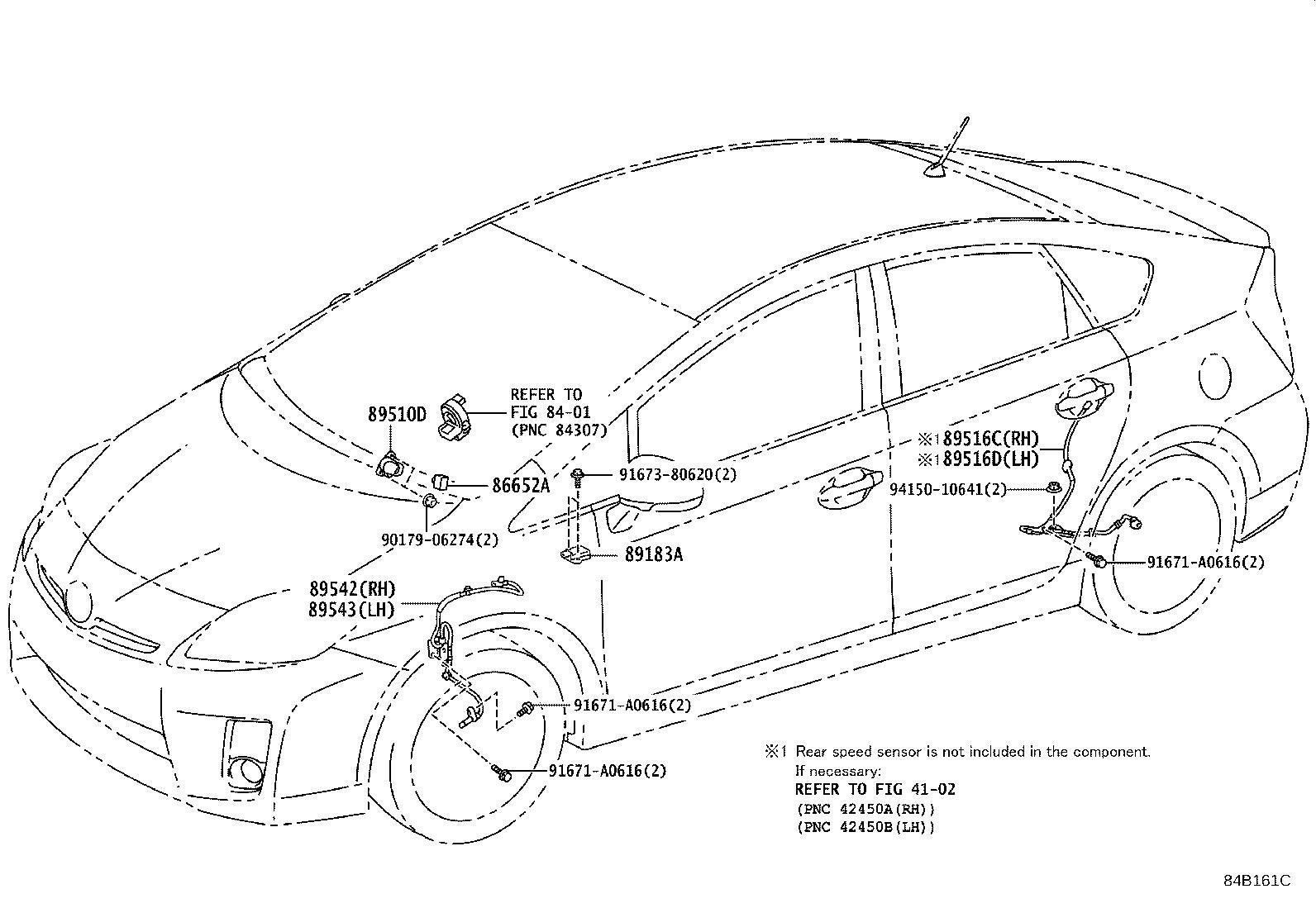 Toyota Prius Abs wheel speed sensor wiring harness (right