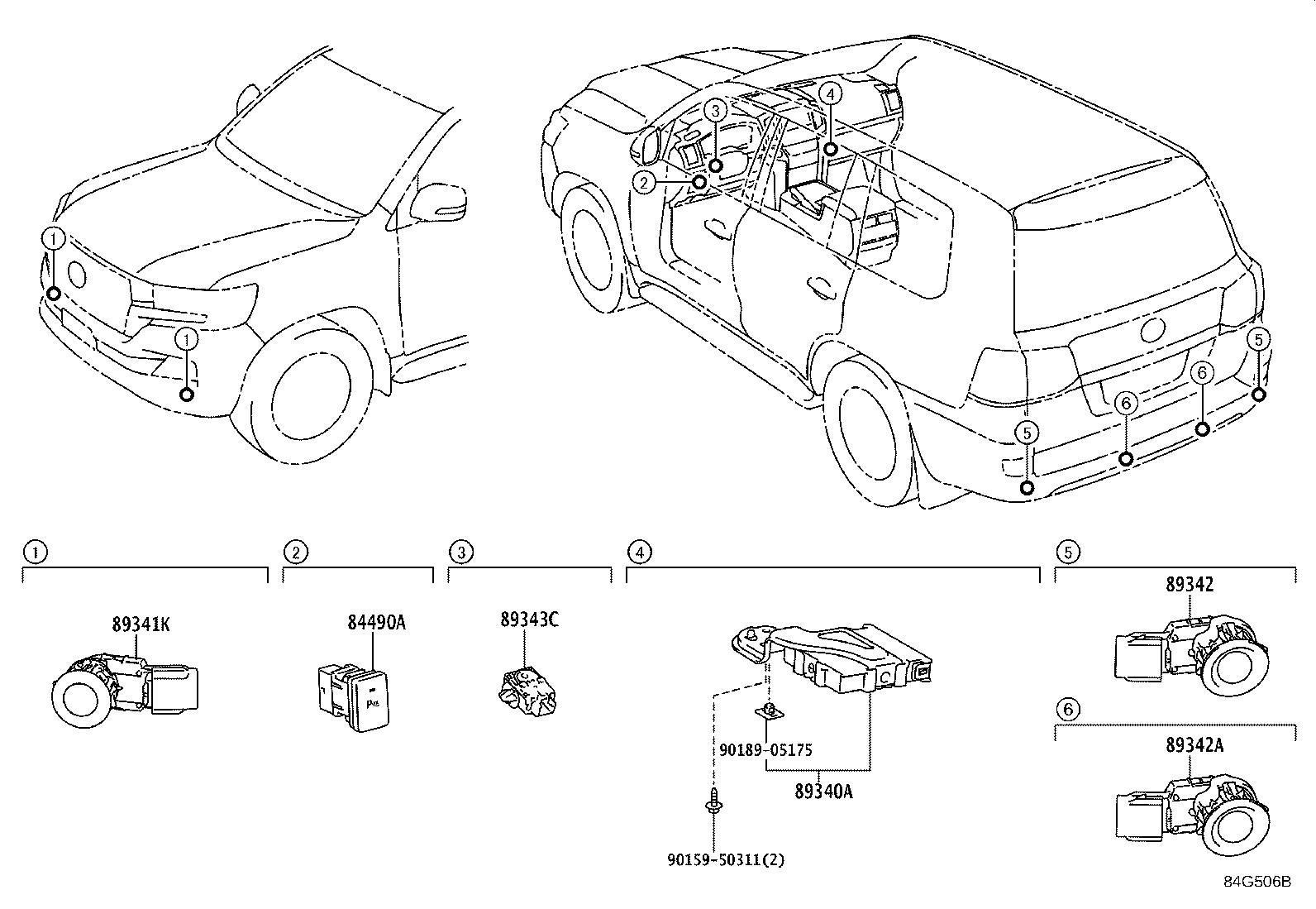 Toyota Land Cruiser Sensor, ultrasonic, no. 1. Silver me