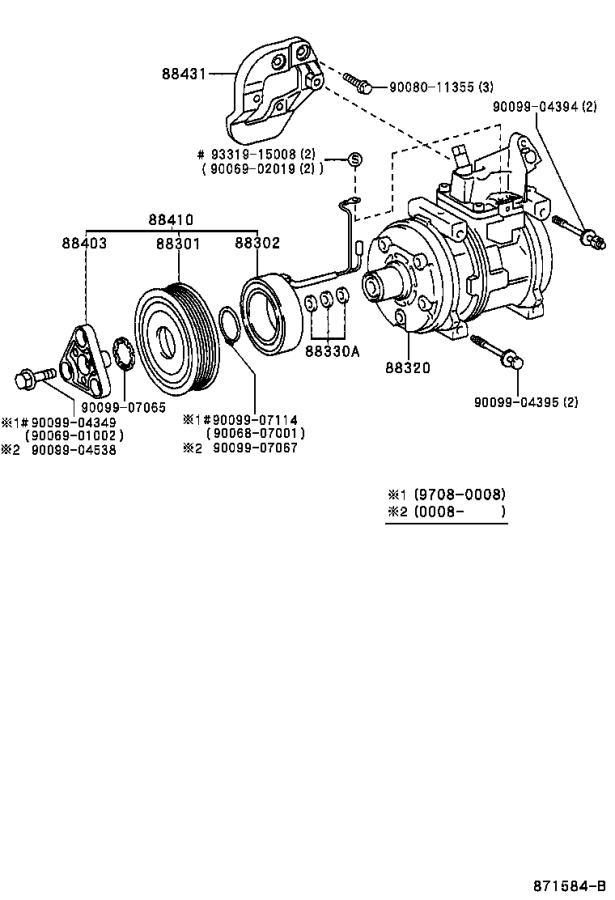 Toyota Sienna A/c compressor clutch. Clutch, magnet