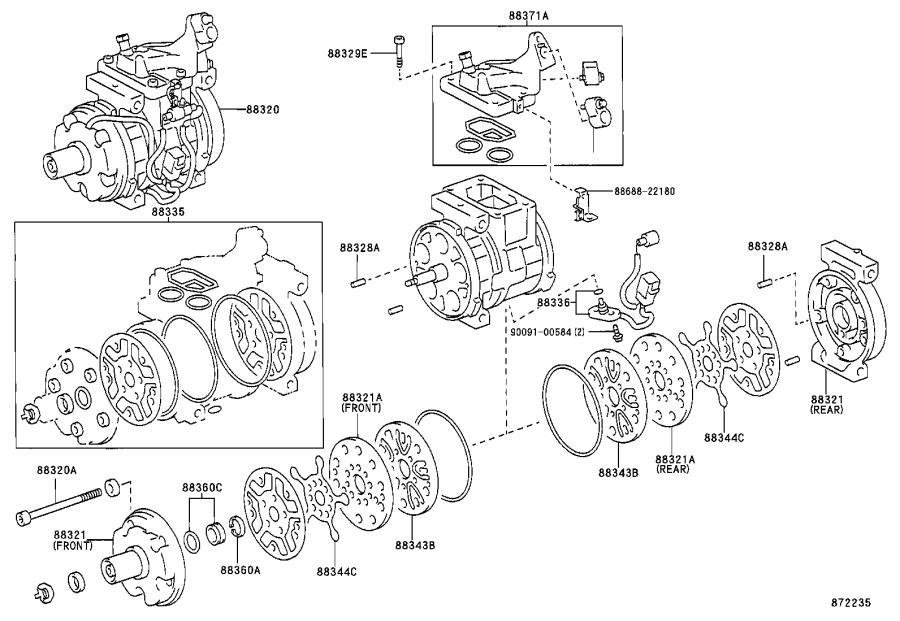 Toyota Corolla A/c compressor clutch. Clutch, magnet