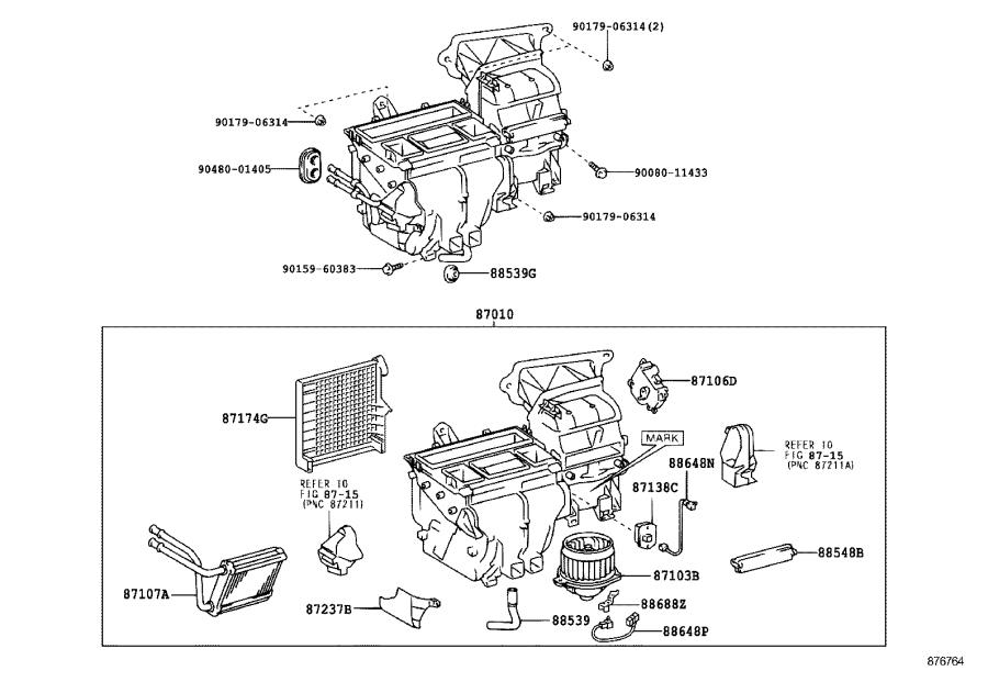 2006 Toyota Corolla A/c evaporator core. Evaporator