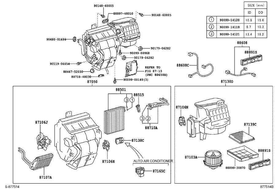Toyota Highlander Hvac blower motor (lower). Motor