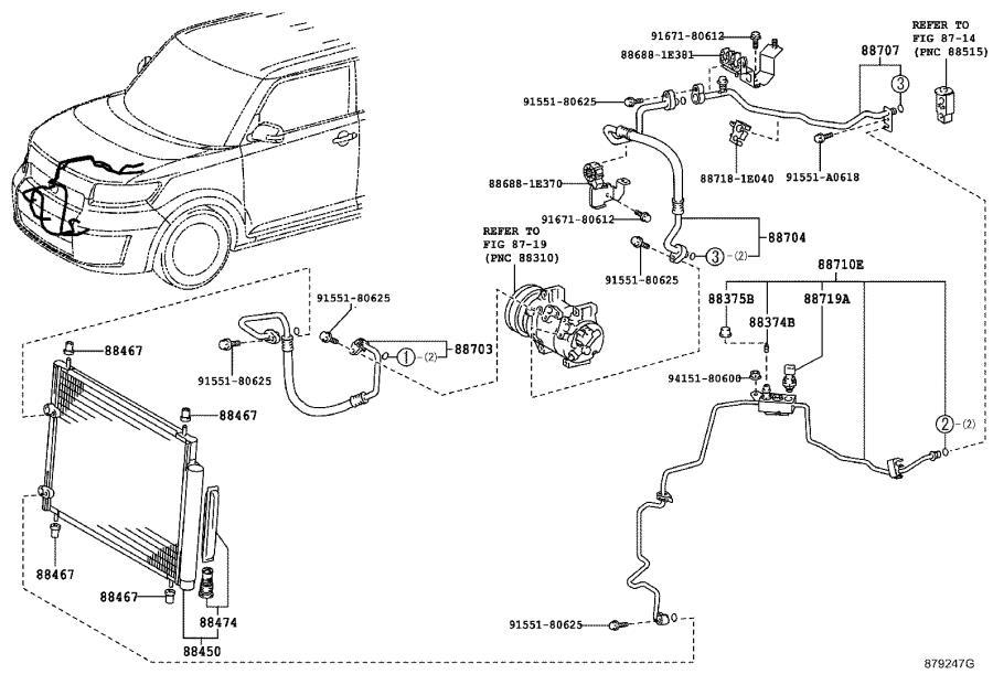 Scion XB A/c refrigerant discharge hose. Conditioning, air