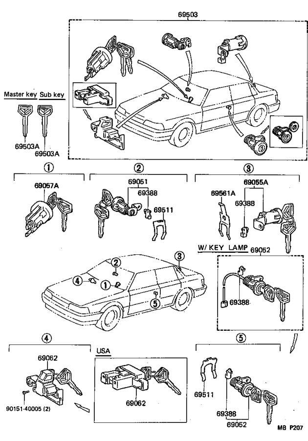 Toyota Camry Snap, front door lock cylinder. Body