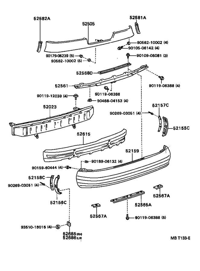 Toyota Celica Reinforcement sub-assembly, rear bumper