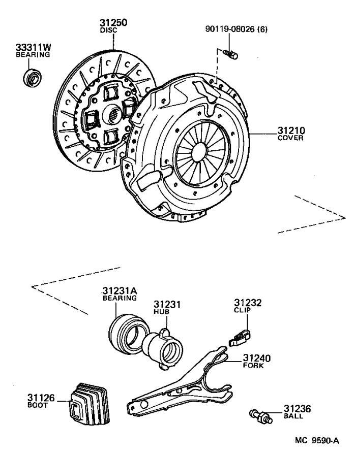 Toyota Corolla Clip or spring, release bearing hub. Mtm