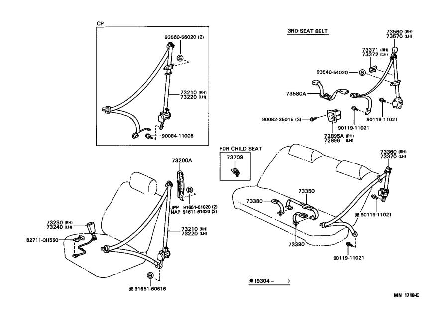 Toyota Camry Belt assembly, front seat inner, left. Medium