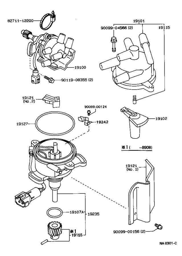 Toyota Corolla Spark Plug Wire Set. Cap, Distributor