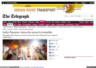 National PR: The Telegraph: Guilty Pleasures