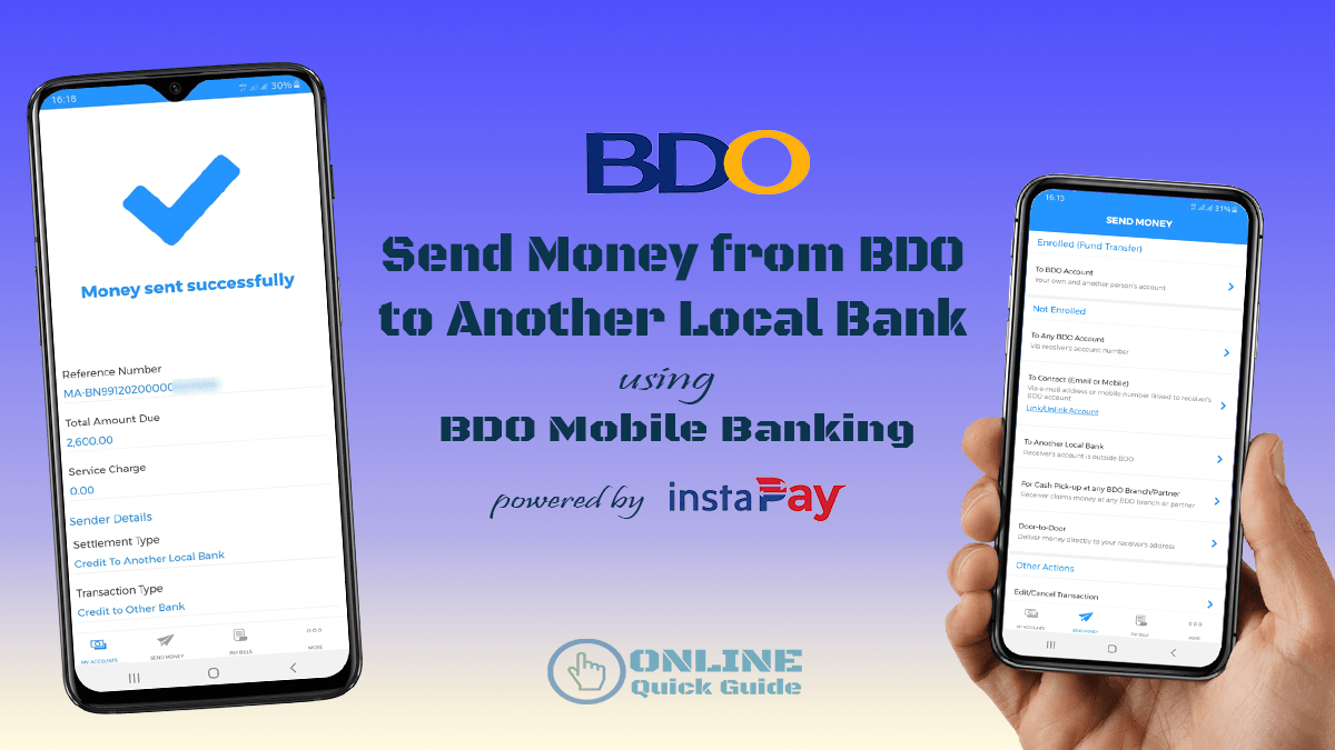 How to transfer money from BDO to other Local Bank using BDO Mobile App |  Online Quick Guide