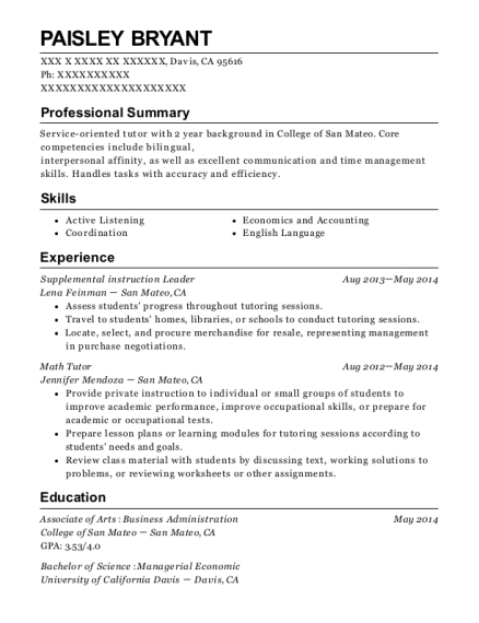 wsu sample resume