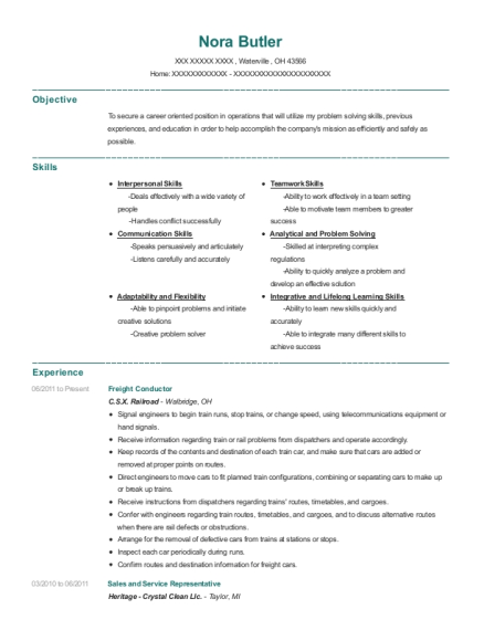 sample freight train conductor resume