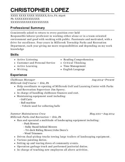 The Oaks Club Director Of Clubhouse Manager Resume Sample - ResumeHelp