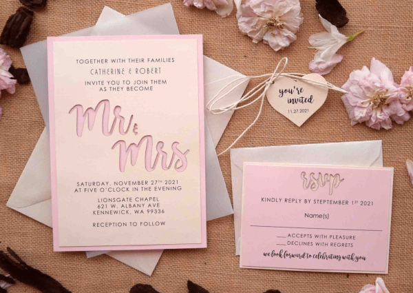 etsy wedding invitations pink laser cut