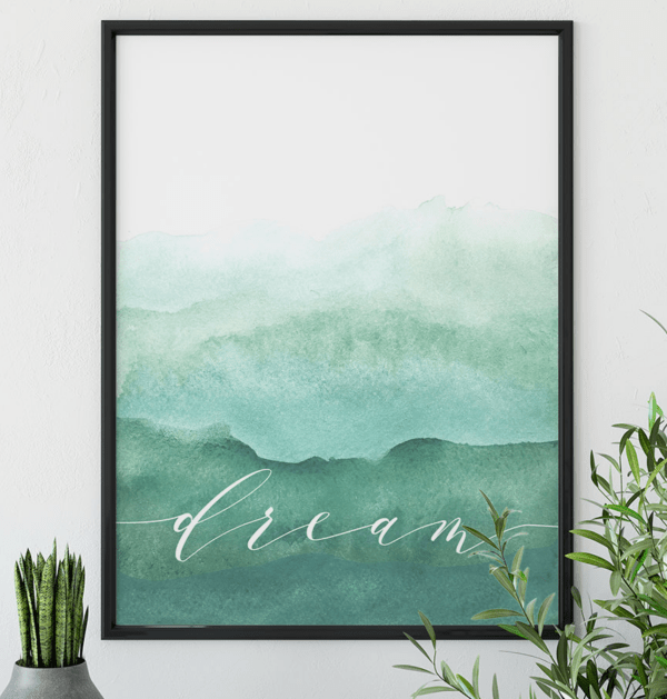 inspirational art print dream watercolor print