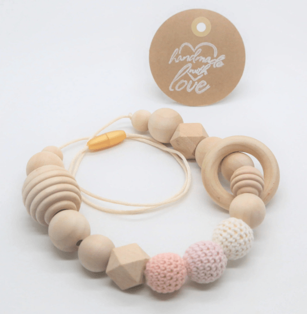 Wood baby teething necklace etsy