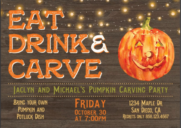 Pumpkin Carving Party Invite