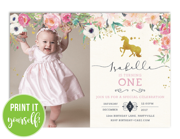 Unicorn First Birthday Invitations 1st Party