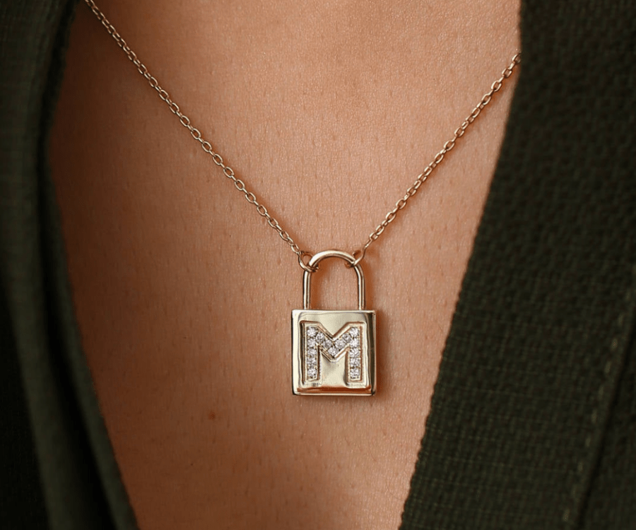 diamond initial 14k gold name necklace