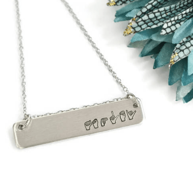 sign language name necklace silver