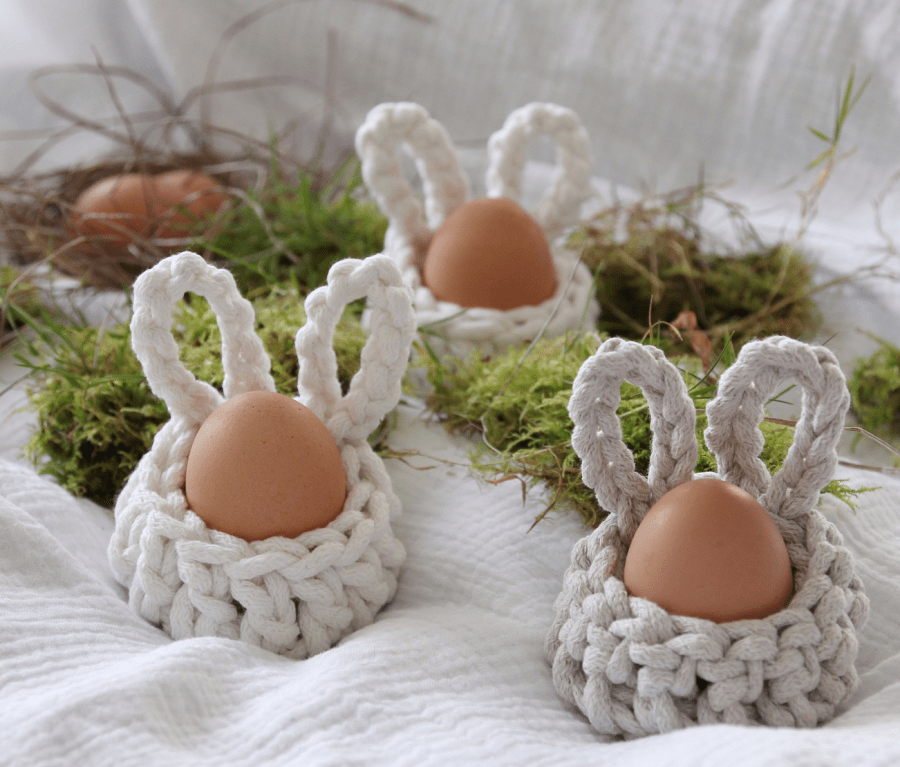 crocheted Easter egg cups