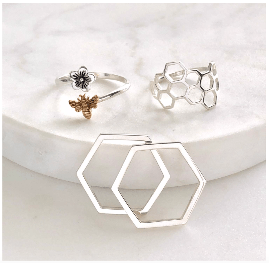 Honey Bee Jewelry Stacking Ring Set Sterling Silver