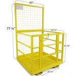 Forklift-Safety-Cage-Work-Platform-Lift-Basket-Aerial-Fence-Rails-Yellow-2-man-0-0