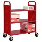 Sandusky-Lee-3-Flat-Shelf-Book-Truck-19-Length-39-Width-46-Height-3-Shelves-0