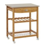 Sandusky-Lee-MKT282034-Wood-Kitchen-Utility-Cart-with-Stainless-Steel-Top-28-Length-x-20-Width-x-34-Height-Natural-Wood-0