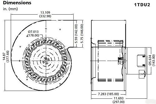 Dayton 1TDU2 PSC Blower, 115/230 Volts